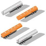 Semitrailer tanks for fuel detailed isometric icon set. Vector graphic illustration Royalty Free Stock Photos
