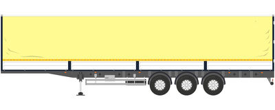 Semitrailer tent. Tent trailer on a white background. Vector illustration Stock Photos
