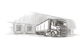 Semitrailer truck at loading dock sketch. Vector. For print or web royalty free illustration