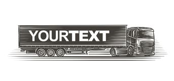 Semitrailer truck with text template on trailer illustration. Vector. Semitrailer truck with text template on trailer illustration. Vector the text goes on Stock Photos
