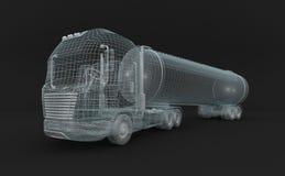 Semitransparent brandstof tanket vrachtwagen. Stock Foto