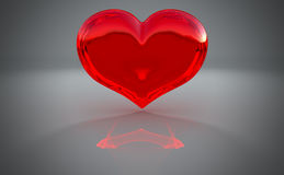 Semitransparent heart shape with reflection Royalty Free Stock Photo