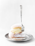 Semla cream bun on silver plate Stock Image