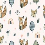 Semless与逗人喜爱的小的狐狸的森林地样式 Scandinaviann样式,婴孩服装的,幼稚装饰托儿所纹理 向量例证