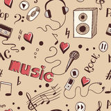 Semless background with sketch music elements Stock Photos