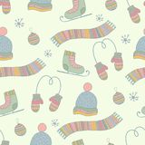 Semless hand drawn winter clothes pattern. Set. Scarf, mittens, hat, ice skates. Pastel color Royalty Free Stock Photos