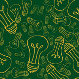 Semless lamps doodle. Seamless texture with yellow bulbs on green background Royalty Free Stock Photo