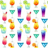 Semless pattern with different colorful summer bright cocktails with fruits. Hand drawn watercolor illustration. Texture stock photo
