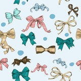 Semless texture with vintage bows Stock Images