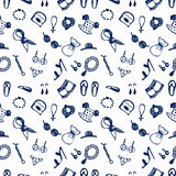 Semless vector pattern with clothes and accessory. Hand sketch drawing. Royalty Free Stock Photos