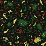 Semless vector pattern in green red and yellow tones with leaves and berries stock illustration