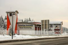 Semmering, Austria: building of the voluntary fire brigade of the skiing kurort. In winter day royalty free stock photography