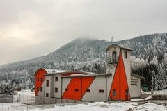 Semmering, Austria: building of the voluntary fire brigade of the skiing kurort. In winter day royalty free stock image
