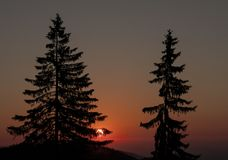 Sunset in Semmering, Austria royalty free stock photos