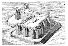 Semnae fortress Egypt XII dynasty, engraving middle ' 800 Royalty Free Stock Photo