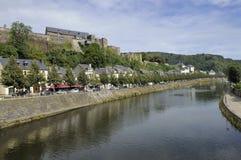 Semois river and bouillon castle, ardennes Stock Image