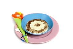Semolina. Porridge, isolated on white Royalty Free Stock Photography