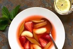 Σούπα φραουλών και ρεβεντιού με Semolina τις μπουλέττες Στοκ φωτογραφία με δικαίωμα ελεύθερης χρήσης
