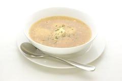 Semolina ball soup in a white bowl. Semolina ball soup in a bowl Stock Photo