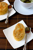 Semolina cake. Burmese traditional semolina cake to go with green tea Royalty Free Stock Photo