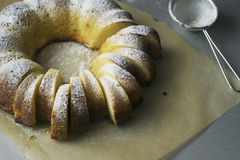 Semolina cake with cream cheese. Sponge cake semolina with cottage cheese sprinkled with icing sugar Stock Images