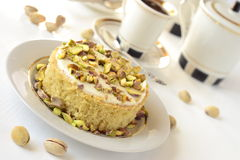 Semolina cake with pistachios Royalty Free Stock Photography