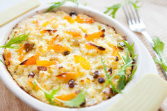 Semolina casserole with dried apricots Royalty Free Stock Images