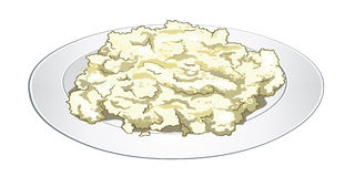 Semolina cooked with milk in a white plate. Useful and easy breakfast. Vector. Semolina cooked with milk and butter in a white plate. Useful and easy breakfast Stock Image
