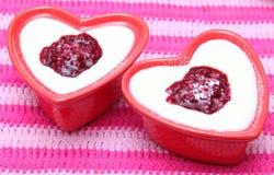 Semolina. A dessert of semolina and berries Stock Photos