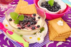 Semolina dessert with blueberry for baby Royalty Free Stock Photography