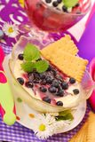 Semolina dessert with blueberry for baby Stock Photo