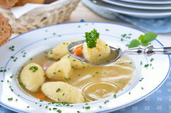 Semolina dumpling soup Royalty Free Stock Photos