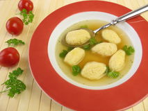 Semolina dumplings soup Royalty Free Stock Photos