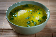 Semolina dumplings soup Stock Images
