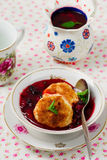 Semolina pancakes  with  berry kissel. Royalty Free Stock Images