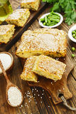 Semolina pie with vegetables. Semolina pie with green peas and beans Royalty Free Stock Images
