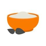 Semolina porridge figs vector illustration. Stock Image