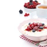 Semolina porridge with fresh berries, nuts Stock Photos