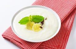 Semolina pudding with banana Royalty Free Stock Photography
