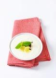 Semolina pudding with banana Royalty Free Stock Photo