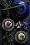 Semolina Pudding with a Hyacinth Flower Decoration Stock Photo