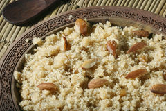 A Semolina Pudding from India. Halwaua e Aurd Sujee is a sweet dish made from Semolina, popular in North-West India, Pakisthan and Afghanistan Stock Images