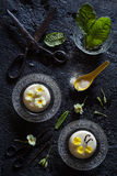 Semolina Pudding with a Primrose Flower Decoration Stock Photography