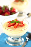 Semolina Pudding with Strawberries Stock Images