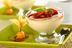 Semolina Pudding with Strawberries Royalty Free Stock Images