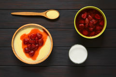 Semolina Pudding with Strawberry Compote Stock Photos