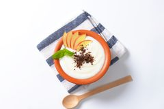 Semolina or rice pudding with apple and chocolate royalty free stock photography