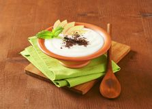 Semolina or rice pudding with apple and chocolate Stock Photography