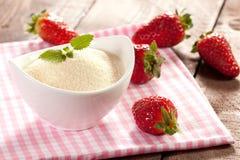 Semolina and strawberries Royalty Free Stock Images