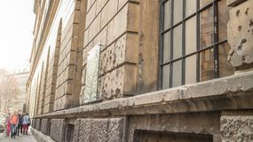 Semper depot. Storehouse of the Academy of Fine Arts Vienna showing preserved world war 2 damage from the Battle in 1945 with the Soviet Army, bullet holes on Royalty Free Stock Photography
